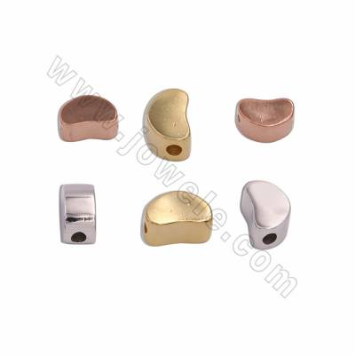 925 Sterling Silver Spacer Beads, Size 5.5x6x10mm, Hole 2mm, 6pcs/pack, (Rose Gold, White Gold, Gold) Plated