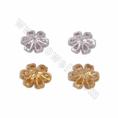 925 Sterling Silver Spacer Beads, Flower, Size 11mm, Hole 1mm, 18pcs/pack, ( Golden, White Gold) Plated