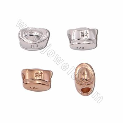925 Sterling Silver Spacer Beads, Ingots, Size 7x10mm, Hole 3.5mm, 6pcs/pack, ( Golden, Whitegold) Plated