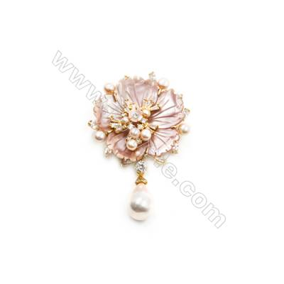 Pink Flower Mother-of-pearl Shell CZ Brooch x 1Piece  Gold Plated  Size 44x47mm