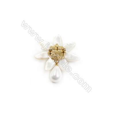 White Flower Mother-of-pearl Shell CZ Brooch x 1Piece Gold Plated  Size 48x48mm