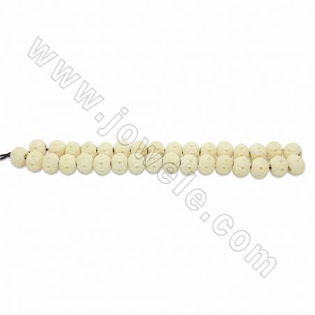 Handmade Carving Flower Pattern Ox Bone Beads Strands, White, Size 12mm, Hole 3mm, 33beads/strand