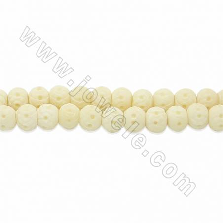 Handmade Carving Flower Pattern Ox Bone Round Beads Strands, White, Size 8mm, Hole 2mm, 50beads/strand