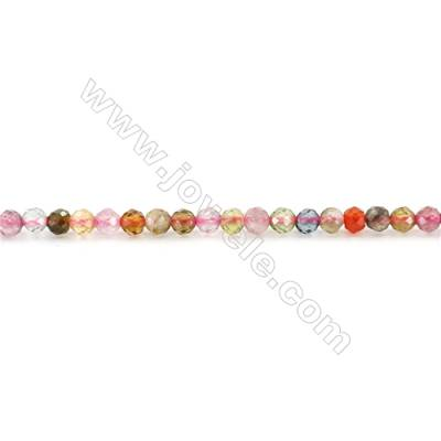 Natural Tourmaline Beads Strand  Faceted Round  Diameter 2mm  hole 0.6mm  about 203 beads/strand 15~16""