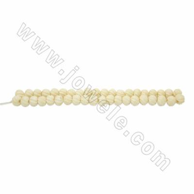 Handmade Carved Ox Bone Round Beads Strands, White, Size 10mm, Hole 2mm, 40beads/strand
