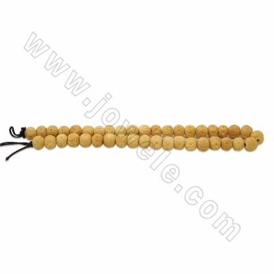Handmade Carved Flower Pattern Ox Bone Round Beads Strands, Yellow, Size 10mm, Hole 2mm, 40beads/strand