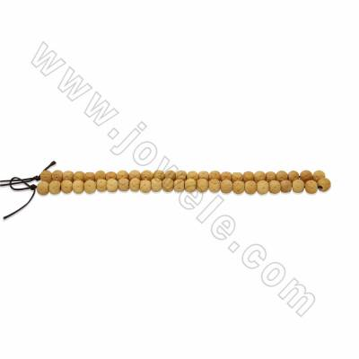 Handmade Carved Flower Pattern Ox Bone Round Beads Strands, Yellow, Size 8mm, Hole 2mm, 50beads/strand