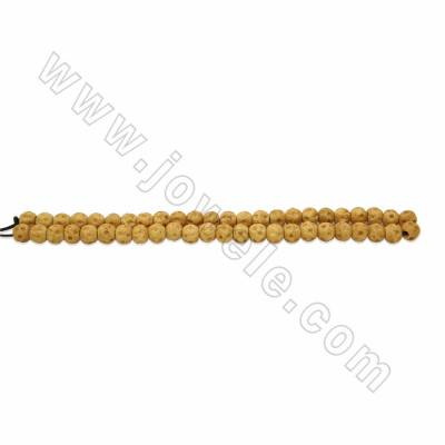 Handmade Carved Round Ox Bone Beads Strands, Yellow, Size 8mm, Hole 2mm, 49beads/strand