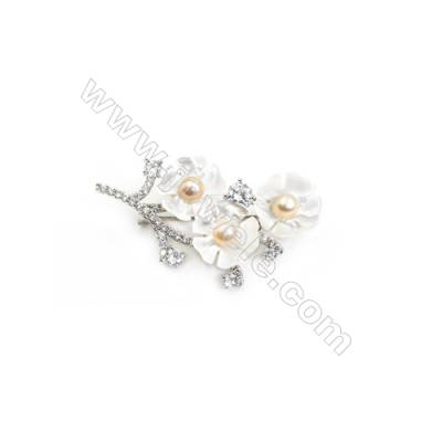 White Flower Mother-of-pearl Shell Zircon Brooch x 1Piece  Sterling Silver Plated  Size 28x49mm