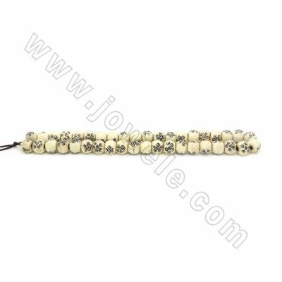 Handmade Carving Dot Pattern Ox Bone Beads Strands, Round, White, Size 10mm, Hole 2.5mm, 40beads/strand
