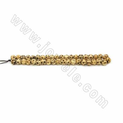 Handmade Carved Ox Bone Beads Strands, Yellow, Size 10mm, Hole 2.5mm, 40beads/strand