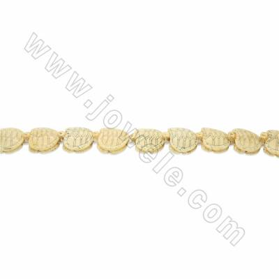 Handmade Carved Ox Bone Beads Strand, Tortoise, Yellow, Size 25x25mm, Hole 1.5mm, 16beads/strand