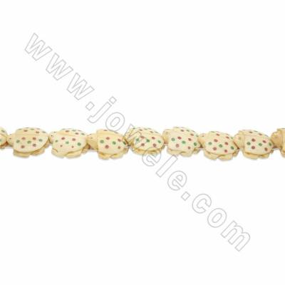 Handmade Carved Ox Bone Beads Strand, Colored spotted turtle, Yellow, Size 25x25mm, Hole 1.5mm, 16beads/strand