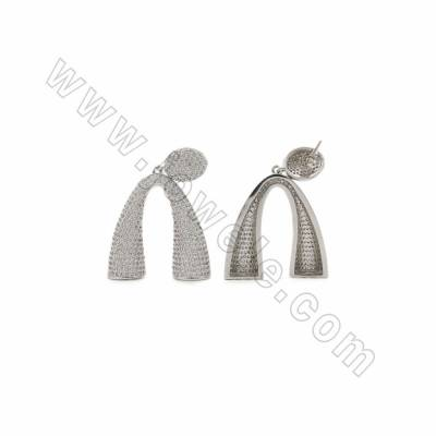 Brass Pave Cubic Zirconia Earring Findings, White Gold Plated, Size 29x31mm, Pin 0.8mm, 2pcs/pack
