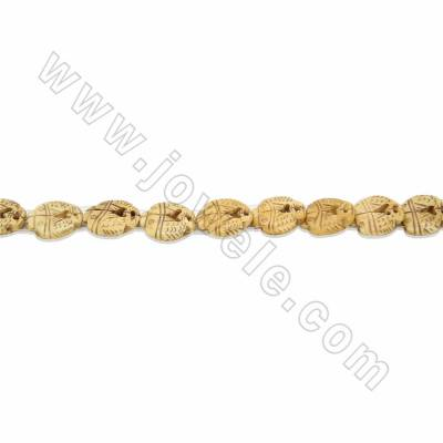 Handmade Carved Ox Bone Beads Strand, Double Fish, Yellow, Size 20x20mm, Hole 1.5mm, 16beads/strand