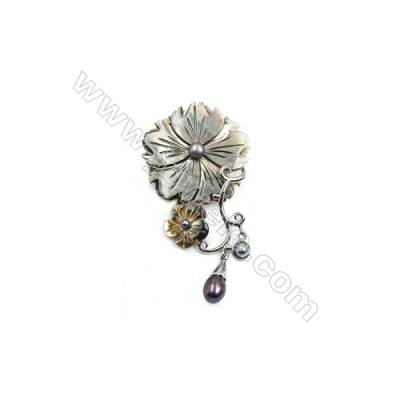 Grey Flower Mother-of-pearl Shell Brooch x 1Piece  Sterling Silver Plated  Size 35x52mm