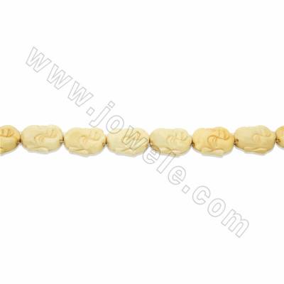 Handmade Carved Ox Bone Beads Strands, Maitreya Buddha, Yellow, Size 25x25mm, Hole 1.5mm, 16beads/strand