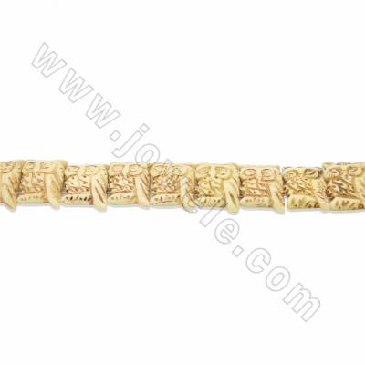 Hight Quality Handmade Carved Ox Bone Beads Strands, Owl, Yellow, Size 20x25mm, Hole 1.5mm, 18beads/strand