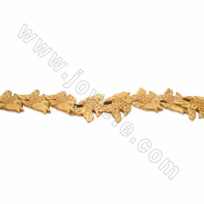 Handmade Carved Ox Bone Beads Strands, Fish, Yellow, Size 26x40mm, Hole 1mm, 18beads/strand
