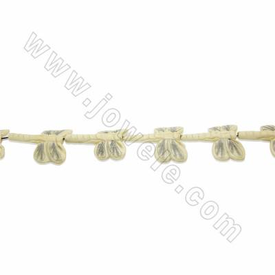 Handmade Carved Ox Bone Beads Strands, Dragonfly, White, Size 45x50mm, Hole 2mm, 9 beads/strand