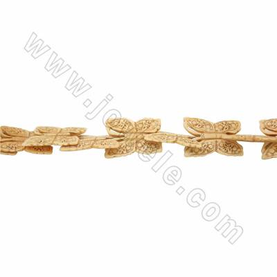 Handmade Carved Ox Bone Beads Strands, Butterfly, Yellow, Size 35x50mm, Hole 1mm, 16beads/strand