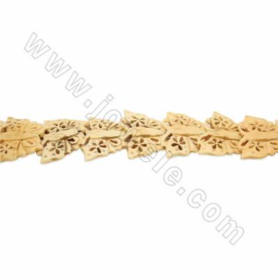 Handmade Carved Ox Bone Beads Strands, Butterfly, Yellow, Size 35x45mm, Hole 1mm, 13 beads/strand