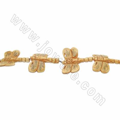Handmade Carved Ox Bone Beads Strands, Dragonfly, Yellow, Size 40x45mm, Hole 1.5mm, 9 beads/strand