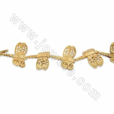 Handmade Carved Ox Bone Beads Strands, Dragonfly, Yellow, Size 45x50mm, Hole 2mm, 9 beads/strand