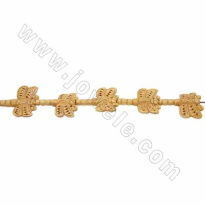 Handmade Carved Ox Bone Beads Strands, Dragonfly, Yellow, Size 35x45mm, Hole 1.5mm, 9 beads/strand