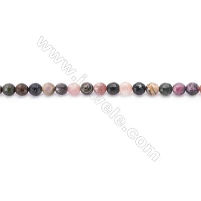 Natural Alternated Tourmaline Beads Strand  Faceted Round  Diameter 6mm  hole 1mm  about 62 beads/strand 15~16""