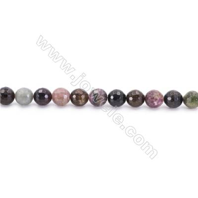 Natural Alternated Tourmaline Beads Strand Faceted Round  Diameter 8mm  hole 1mm  about 46 beads/strand 15~16""