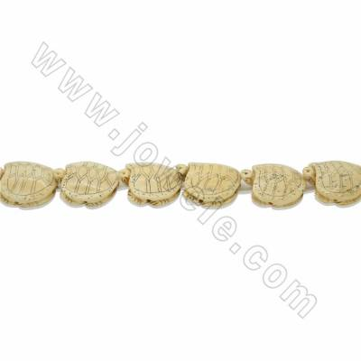 Handmade Carved Ox Bone Beads Strands, Turtles, Yellow, Size 30x30mm, Hole 1.5mm, 14pcs/strand