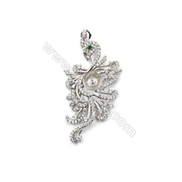 925 Sterling silver platinum plated CZ Pendant, 21x42mm, x 5 pcs, tray 7mm, needle 0.6mm