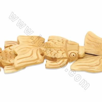 Handmade Carved Ox Bone Beads Strands, Fish, Size 40x50mm, Hole 1.5mm, 8 beads/strand