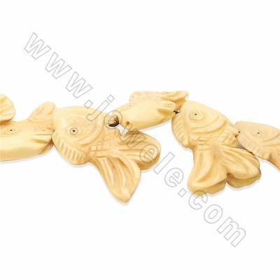 Handmade Carved Ox Bone Beads Strands, Fish, Size 20x35mm, Hole 1.5mm, 15 beads/strand