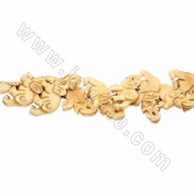 Handmade Carved Ox Bone Beads Strands, Elephant, Size 25x55mm, Hole 1.5mm, 15 beads/strand