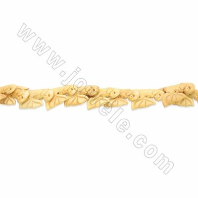 Handmade Carved Ox Bone Beads Strands, Elephant, Size 35x45mm, Hole 1.5mm, 10 beads/strand