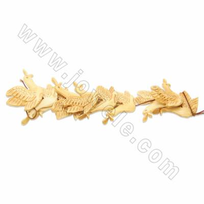 Handmade Carved Ox Bone Beads Strands, Swan, Yellow, Size 40x55mm, Hole 1.5mm, 10 beads/strand