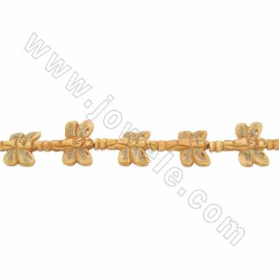 Handmade Carved Ox Bone Beads Strands, Dragonfly, Size 30x35mm, Hole 1.5mm, 12beads/strand