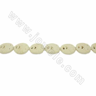 Handmade Carved Ox Bone Beads Strands, Double Fish, White, Size 30x30mm, Hole 1.5mm, 14 beads/strand