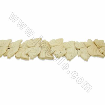 Handmade Carved Ox Bone Beads Strands, White, Fish, Size 30x50mm, Hole 1.5mm, 10 beads/strand