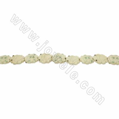 Handmade Carved Ox Bone Beads Strands, White, Frog, Size 26x26mm, Hole 1.5mm, 13 beads/strand