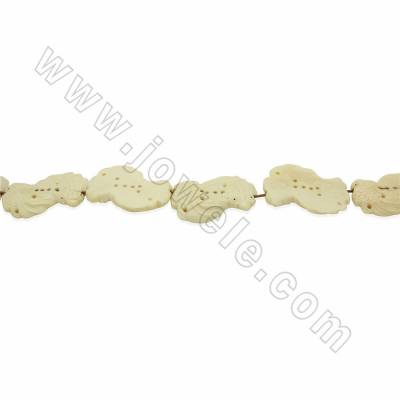 Handmade Carved Ox Bone Beads Strands, White, Double Fish, Size 5x45mm, Hole 1.5mm, 8 beads/strand