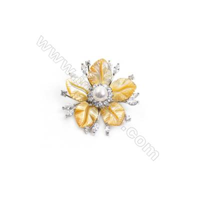 Yellow Flower Mother-of-pearl Shell CZ Brooch x 1Piece  Sterling Silver Plated  Size 40x40mm