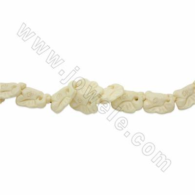 Handmade Carved Ox Bone Beads Strands, White, Elephone, Size 25x25mm, Hole 1.5mm, 16 beads/strand