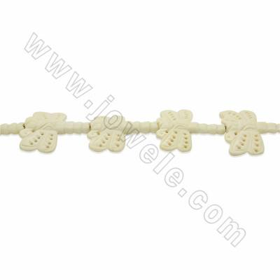 Handmade Carved Ox Bone Beads Strands, Dragonfly, White, Size 40x45mm, Hole 1.5mm, 9 beads/strand