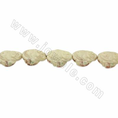 Handmade Carved Ox Bone Beads Strands, Maitreya Buddha, White, Size 28x30mm, Hole 1.5mm, 10 beads/strand