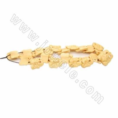 Handmade Carved Ox Bone Beads Strands, Elephant, Yellow, Size 25x25mm, Hole 1.5mm, 10 beads/strand