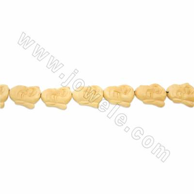 Handmade Carved Ox Bone Beads Strands, Maitreya Buddha, Yellow, Size 30x35mm, Hole 1mm, 12 beads/strand