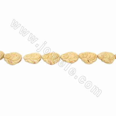 Handmade Carved Ox Bone Beads Strands, Maitreya Buddha, Yellow, Size 30x33mm, Hole 2mm, 10 beads/strand